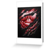 Red Devil torn tee tshirt pencils color art Greeting Card
