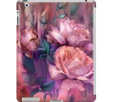 Raindrops On Peach Roses iPad Case/Skin