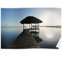 Dock with tropical hut over water on sunrise light Poster