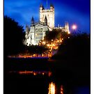 Bath Cathedral by the River Avon at Night by Mal Bray
