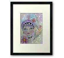 Whimiscal Girl with Purple Hair Framed Print