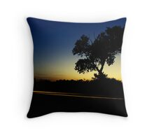 Single Tree in Sunset Silhouette Throw Pillow