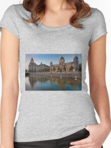 Reflections of the three graces at dusk, Liverpool Women's Fitted Scoop T-Shirt