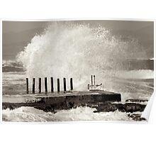 Wave action at Kalk bay Poster