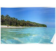 Caribbean island shore with turquoise water Poster