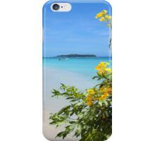 Flowers on sandy beach with tropical island in background iPhone Case/Skin