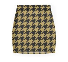 Black and Gold Houndstooth Mini Skirt