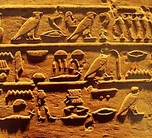 Egyptian hieroglyphs from Karnak temple in Luxor by Brünø Beach .