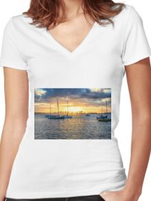 HARBOR SUNRISE Women's Fitted V-Neck T-Shirt