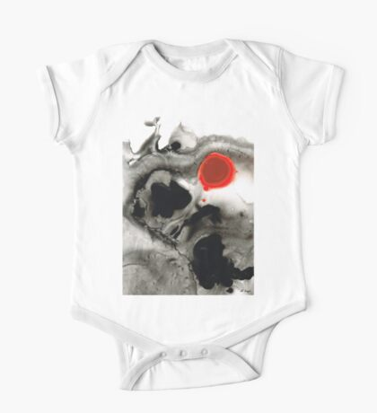 Clarity - Black And White Art Red Painting One Piece - Short Sleeve