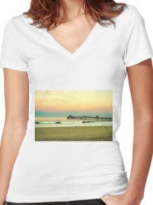IMPERIAL BEACH PIER Women's Fitted V-Neck T-Shirt