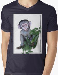 Vervet Monkey baby on white background Mens V-Neck T-Shirt