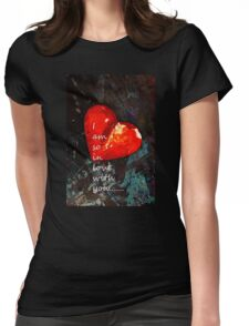 So In Love With You - Romantic Red Heart Painting Womens Fitted T-Shirt