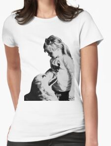 Girl and dog Womens Fitted T-Shirt