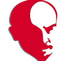 Red Vladimir Ilich Lenin stencil silhuette by SofiaYoushi