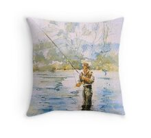 Fly fishing Snowy River Throw Pillow
