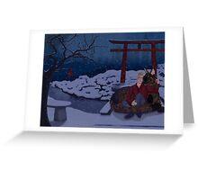 Finni and Mamoru - Snow on Spirit Bridge - Cover Greeting Card