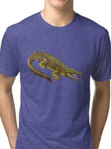 Vintage Crocodile Illustration Tri-blend T-Shirt