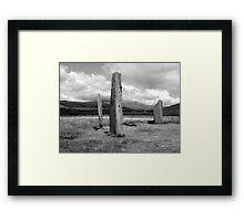 Arran Machrie moor Black & White Framed Print