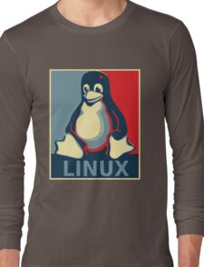 Linux tux penguin obama poster Long Sleeve T-Shirt