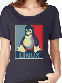 Linux tux penguin obama poster Women's Relaxed Fit T-Shirt