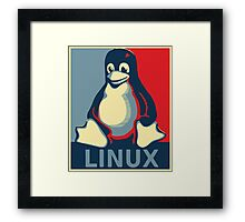 Linux tux penguin obama poster Framed Print