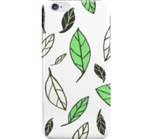 Gliding Leaves Green/Black iPhone Case/Skin