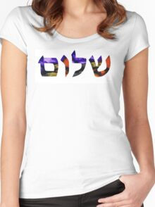 Shalom 6 - Jewish Hebrew Peace Letters Women's Fitted Scoop T-Shirt