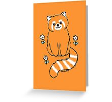 Red Panda with White Flowers Greeting Card