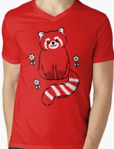 Red Panda with White Flowers Mens V-Neck T-Shirt