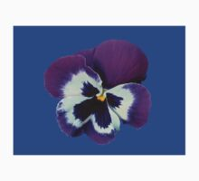 Purple and White Pansy on Blue Background Kids Clothes