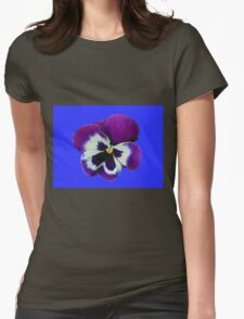 Purple and White Pansy on Blue Background T-Shirt