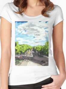 The View from the top of Wellington Arch Women's Fitted Scoop T-Shirt