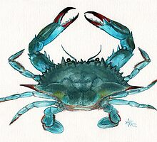 Blue Crab Watercolor by Amber Marine