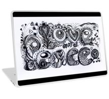Love and Peace Aussie Tangle in Black and White  Laptop Skin