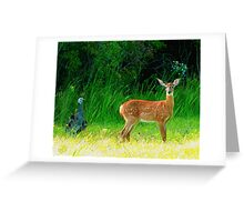 Turkey and Deer Greeting Card