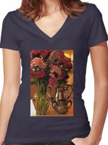 Teatime and Flowers  Women's Fitted V-Neck T-Shirt