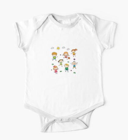 Kids playing outside in summer One Piece - Short Sleeve