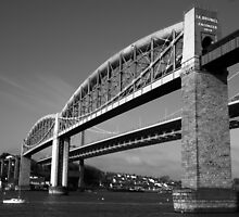 Tamar Bridge B&W by AL-Photos