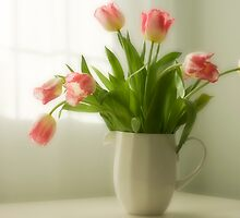 Pink Frilled Petal Tulips in White Jug by Wendy Kennedy