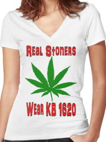 Real Stoners wear KB 1620 Women's Fitted V-Neck T-Shirt