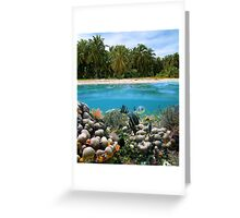 Tropical sandy beach and underwater coral reef fish Greeting Card