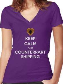Keep Calm and Counterpartshipping Women's Fitted V-Neck T-Shirt