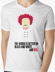 The World is Better in Black and White... And Red (OITNB) Mens V-Neck T-Shirt