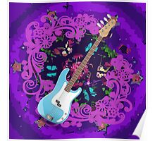 Vibrant Purple Abstract Floral Blue Bass Guitar Poster