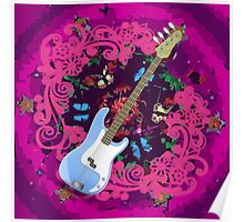 Vibrant Pink Abstract Floral Blue Bass Guitar Poster
