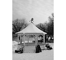 Winter Gazebo b&w Photographic Print