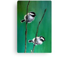 Coal Tits on Mountain Ash Canvas Print