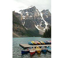 Moraine Lake w canoes Photographic Print