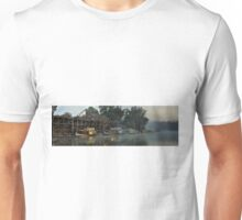 Foggy Dawn At Echuca Wharf Unisex T-Shirt